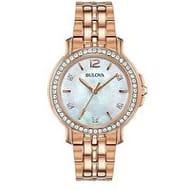 Bulova Mother of Pearl & Diamond Set Dial Rose Gold SSteel Bracelet Ladies Watch