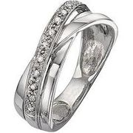 Love DIAMOND 9 Carat White Gold 8 Point Diamond Crossover Band Ring