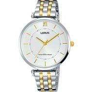 Lorus Women's round Bracelet Strap Watch, Gold/White 2 Year Guarantee