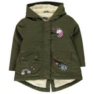 Fleece Lined Girls Parka Coat, Age 2-3
