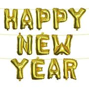 Metallic Gold/silver 'Happy New Year' Foil Balloons with Hanging String