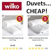 Cheap Price Duvets at Wilko from Just £6 Single, £9 Double, £11 King