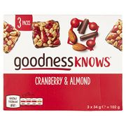 goodnessKNOWS Cranberry and Almond Multipack Snack, 102 G (Pantry)