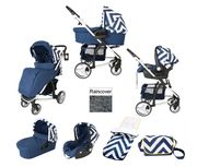 My Babiie MB200+ Travel System Bundle with Carrycot - Blue Chevron