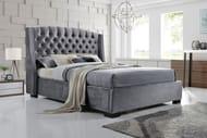 Grey Velvet Wingback Bed - 2 Sizes & 2 Mattress Options!