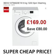 CHEAP PRICE WASHING MACHINE save £80! BEKO 8kg 1200 Spin