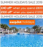 EasyJet 2019 Summer Holiday Deals - up to £100 Off