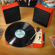Steepletone Retro Portable SRP030S Red Record Player with Detachable Speakers