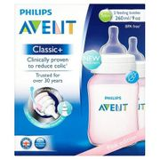 Philips Avent Classic+ 1m+ Pink Feeding Bottle (260ml/9oz), 2 Feeding Bottles