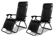 2 X DNY Textoline Reclining Garden Chair Beach Sun Lounger Recliner Chairs