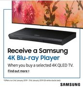Free Samsung 4K Blu-Ray Player When You Buy a Selected 4K QLED TV