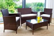 4 Piece Rattan Outdoor Garden Furniture Set