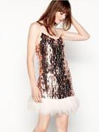 MW by Matthew Williamson - Pink Metallic Sequin Feather Trim Dress Only £45