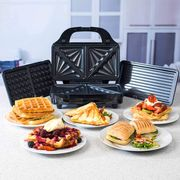 Salter Deep Fill 3-in-1 Snack Maker with Waffle, Panini Toasted Sandwich Plates