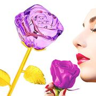 ZJchao Crystal Roses, Long Stem 24k Gold Plated Rose Flower Dipped Rose