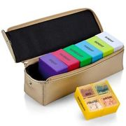 Large Pill or Vitamin Travel Box with Gold Case