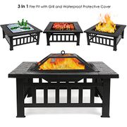 FEMOR Large 3 in 1 Fire Pit with BBQ Grill Shelf [Great Reviews]