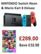 SAVE £32.98 NINTENDO Switch Neon Red & Mario Kart 8 Deluxe Bundle