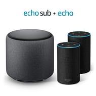 BUNDLE DEAL save £60: 2 Amazon Echo (2nd Gen), Charcoal Fabric + 1 Echo Sub