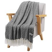 Premium Knitted Soft Warm Acrylic Blanket Throw with Tassels, Wearable Shawl