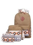 Chevron Detail Backpack with Clutch 3pcs