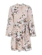 Elegant Floral Dress Flare Sleeve Open Back Chiffon A-Line Dress Dresses