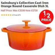 HALF PRICE BARGAIN: Sainsbury's Cast Iron Round Casserole Dish 3L *4.9 STARS*