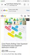 Cute Plastic Rolling Tube Squeezer Toothpaste Easy Dispenser Bathroom Holder LU