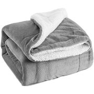 Sherpa Throw Blanket Silver Grey Travel/Single Size (130 X 150cm)