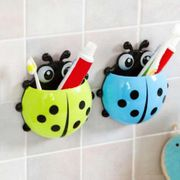 Cute Animal Sucker Ladybird Designed Bathroom Wall Decor Toothbrush Holder 1D54