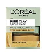 L'Oreal Paris 3 Pure Clays and Yuzu Lemon Bright Mask, 50 Ml