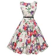 Vintage Floral Dress Elegant 1950s Style Swing Dress Sleeveless Party Dress