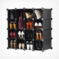 16pc Black Modular Shoe Storage Unit