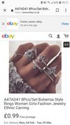 8Pcs/Set Bohemia Style Rings Women Girls Fashion Jewelry Ethnic Carving