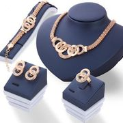 Luxury Crystal Necklace Earring Circle Finger Ring Twist Jewelry Set for Women