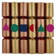 Set of 6 Metallic Glitter Christmas Crackers