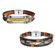 Vintage Multi-Stands Wristband Brown Black Leather Men's Bracelets