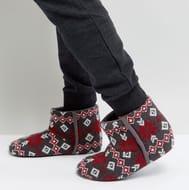 Dunlop Fairisle Boot Slippers Grey