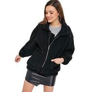 Women's Fuzzy Jacket Coat Fluffy Zip-up Turndown Collar Pockets Soft Outwear
