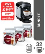 TASSIMO Black VIVY Machine + 3 Packs - Save 21%