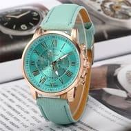 New Fashion Elegant Geneva Roman Numerals Quarzt Wrist Watch for Women
