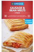 Yum! Greggs 2 Sausage & Bean Melts at Iceland