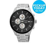 Seiko Men's Chronograph Black Dial Stainless Steel Watch C&C - £50 Off!