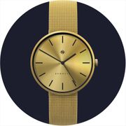 The Drumline Minimal Mesh Strap Watch | Gold Brass - Save 70%