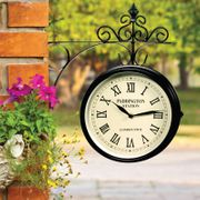 Outdoor Traditional Station Garden Clock with Bracket