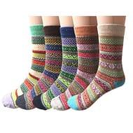 5 Pairs Womens Socks Wool Thermal Warm Knitting Ladies Socks