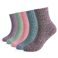 5 Pairs Women Winter Knitting Thicken Warm Cotton Thermal Socks
