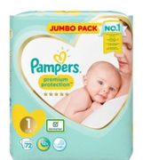 Pampers Premium Protection Nappies New Baby Size 1 Jumbo Pack