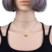 Heart Love Double Layer Choker Necklace Gold Silver Beads Chain