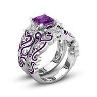 2-in-1 Womens Purple Amethyst Diamond Heart Rings Set